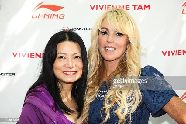 Designer Vivienne Tam and Dina Lohan attend the Vivienne Tam Li Ning Spring 2012 presentation during Mercedes Benz Fashion Week at Barclays Capital...