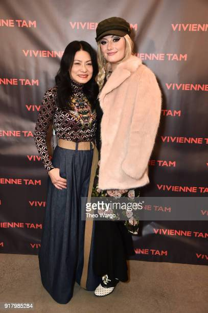 Designer Vivienne Tam and Francesca Curran pose backstage for Vivienne Tam during New York Fashion Week The Shows at Gallery I at Spring Studios on...