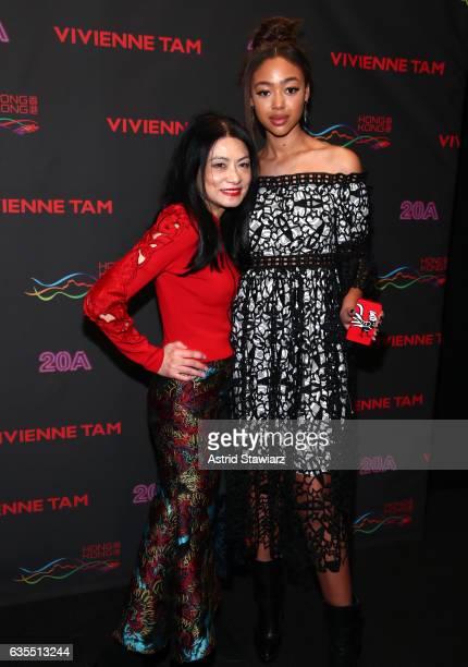 Designer Vivienne Tam and model Bella Harris attend Vivienne Tam FW2017 Runway Show show at Gallery 1 Skylight Clarkson Sq during New York Fashion...