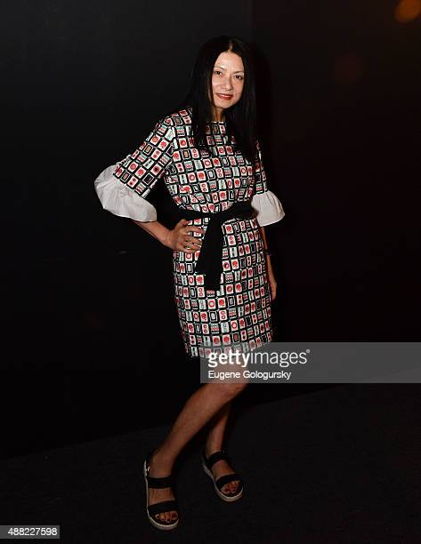 Designer Vivienne Tam attend the Vivienne Tam - Front Row & Backstage - Spring 2016 New York Fashion Week: The Shows at The Arc, Skylight at Moynihan...