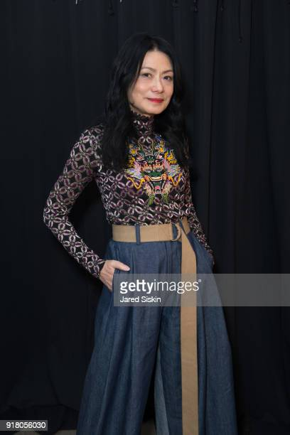 Designer Vivienne Tam poses backstage before the show at Vivienne Tam FW18 on February 13 2018 in New York City