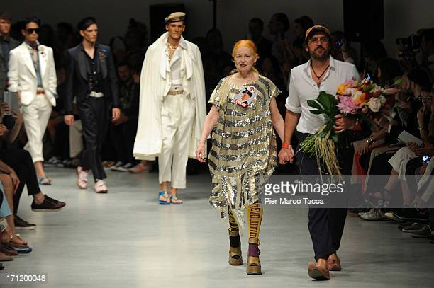 Designer Vivienne Westwood acknowledge the audience at the and of the Vivienne Westwood show during Milan Menswear Fashion Week Spring Summer 2014 on...