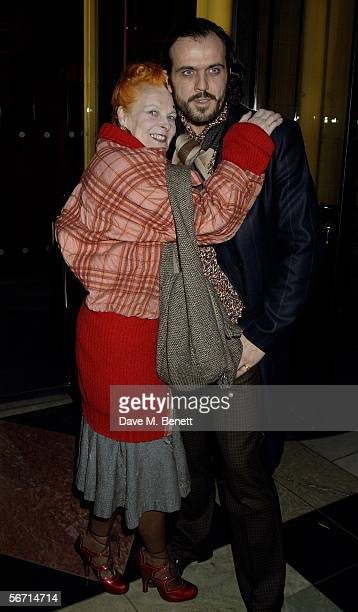 """Designer Vivienne Westwood and her husband Andreas Kronthaler attend the private view for Anna Piaggi's new exhibition """"Fashion-ology"""" at the..."""