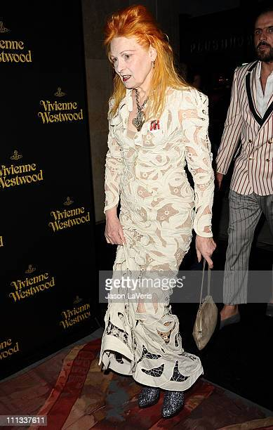 Designer Vivienne Westwood attends the Vivienne Westwood US flagship store grand opening on March 30 2011 in Los Angeles California