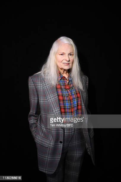 Designer Vivienne Westwood poses backstage ahead of the Vivienne Westwood show during London Fashion Week February 2019 on February 17 2019 in London...