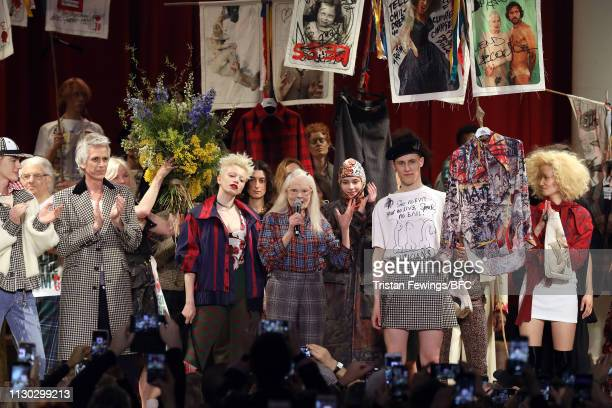 Designer Vivienne Westwood speaks during the finale runway at the Vivienne Westwood show during London Fashion Week February 2019 on February 17 2019...