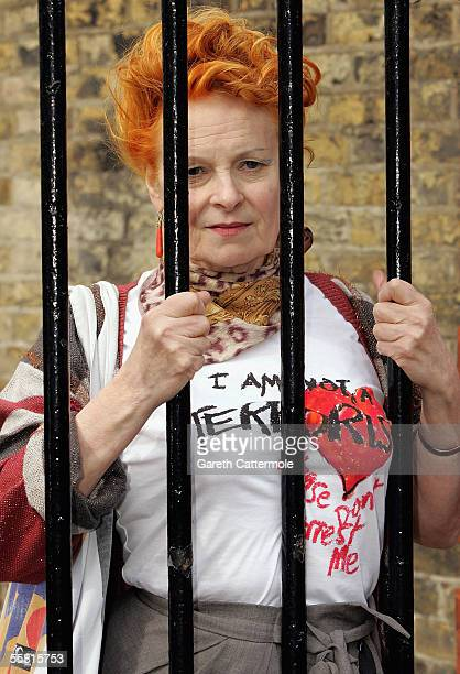 Designer Vivienne Westwood unveils a new collection of Tshirts designed exclusively for human rights organisation Liberty and created in response to...