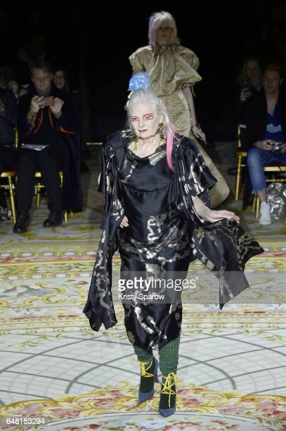 Designer Vivienne Westwood walks the runway during the Vivienne Westwood show as part of Paris Fashion Week Womenswear Fall/Winter 2017/2018 on March...