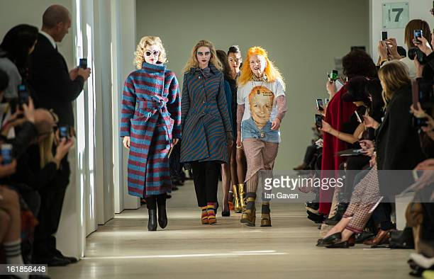 Designer Vivienne Westwood walks the runway with her models during the finale of the Vivienne Westwood Red Label show during London Fashion Week...