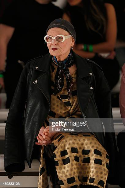 Designer Vivienne Westwood watches the run through prior to the Vivienne Westwood Red Label show at London Fashion Week AW14 at on February 16 2014...