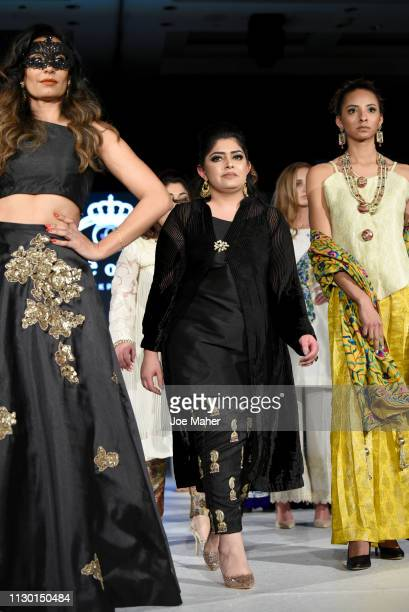 Designer walk the runway for Fitoor at the House of iKons show during London Fashion Week February 2019 at the Millennium Gloucester London Hotel on...