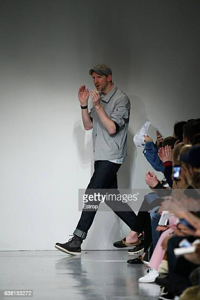Designer walking the runway at the Christopher Raeburn show during London Fashion Week Men's January 2017 collections at BFC Show Space on January 8...