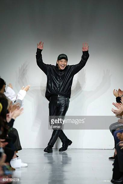 Designer walking the runway at the John Lawrence Sullivan show during London Fashion Week Men's January 2017 collections at BFC Show Space on January...