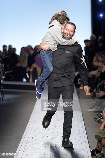 Designer walking the runway at the Marcelo Burlon County Of Milan show during Milan Men's Fashion Week Fall/Winter 2017/18 on January 14 2017 in...