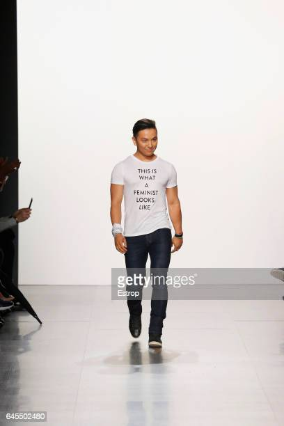 Designer walks the runway at the Prabal Gurung show during the New York Fashion Week February 2017 collections on February 12 2017 in New York City