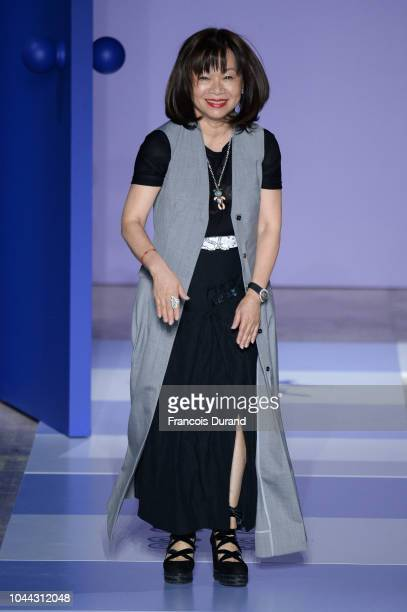 Designer Wang Chen TsaiHsia walks the runway during the Shiatzy Chen show as part of the Paris Fashion Week Womenswear Spring/Summer 2019 on October...