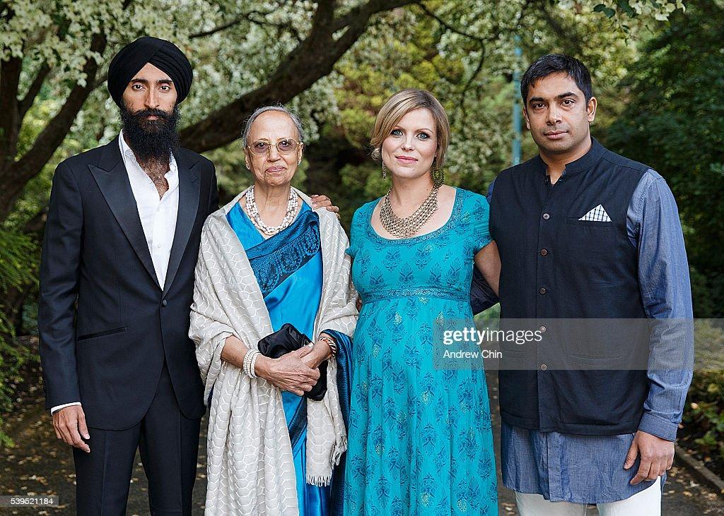 Designer Waris Ahluwalia and his mom Darshan Ahluwalia Managing Director of Indian Summer Festival Laura Byspalko and Artistic Director of Indian...