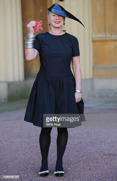 Designer Wendy Dagworthy after she was awarded an OBE for services to the fashion industry by Prince Charles Prince of Wales during an investiture...