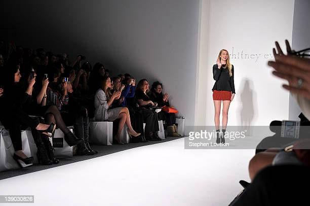 Designer Whitney Port poses on the runway at the Whitney Eve Fall 2012 fashion show during MercedesBenz Fashion Week at The Studio at Lincoln Center...