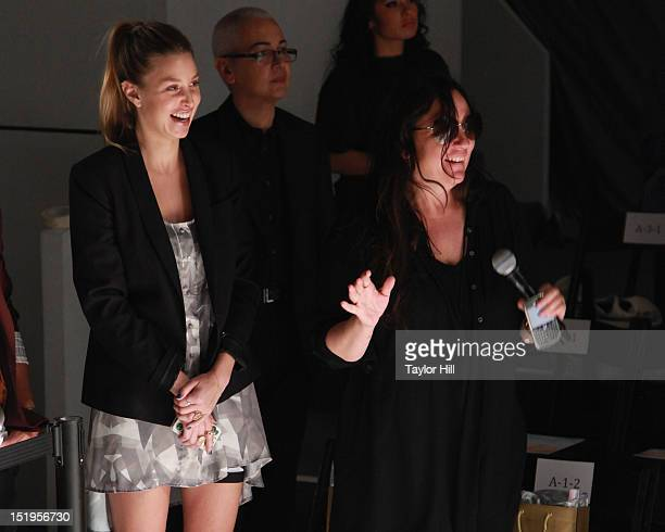 Designer Whitney port watches rehearsals with her publicist Kelly Cutrone at the Whitney Eve Spring 2013 MercedesBenz Fashion Week Show at The Studio...