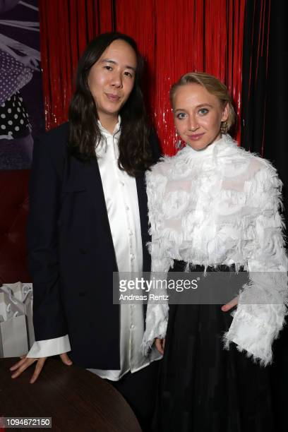 Designer William Fan and Anna Maria Mühe pose after the William Fan Defile during 'Der Berliner Salon' Autumn/Winter 2019 at Knutschfleck on January...
