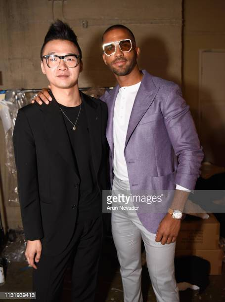 Designer William Lei and Pierre Abena at Los Angeles Fashion Week FW/19 Powered by Art Hearts Fashion at The Majestic Downtown on March 21 2019 in...