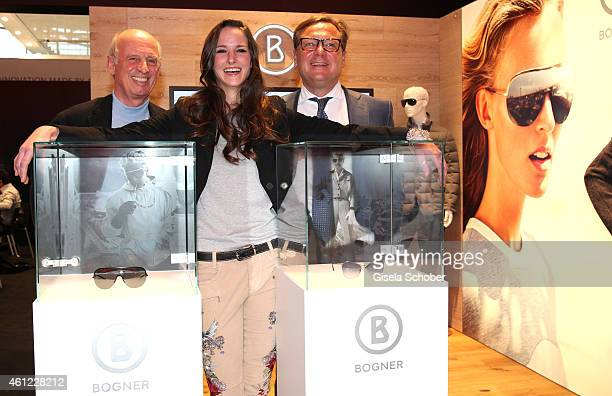 Designer Willy Bogner, Florinda Bogner and Oliver Kastalio, CEO Rodenstock during the Rodenstock & Bogner press conference at Messe Muenchen on...