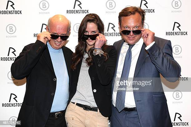 Designer Willy Bogner, Florinda Bogner and Oliver Kastalio, CEO Rodenstock with sunglasses during the Rodenstock & Bogner press conference at Messe...