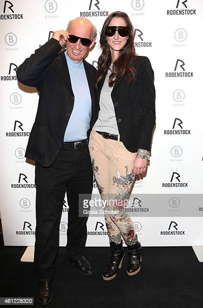 Designer Willy Bogner, Florinda Bogner with sunglasses during the Rodenstock & Bogner press conference at Messe Muenchen on January 9, 2015 in...