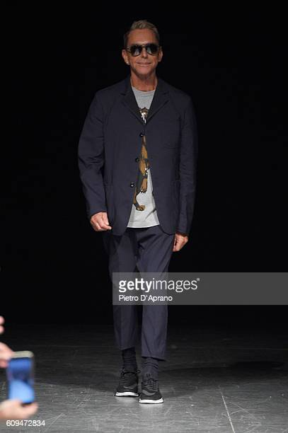 Designer Wolfgang Joop acknowledges the applause of the audience at the Wunderkind show during Milan Fashion Week Spring/Summer 2017 on September 21...