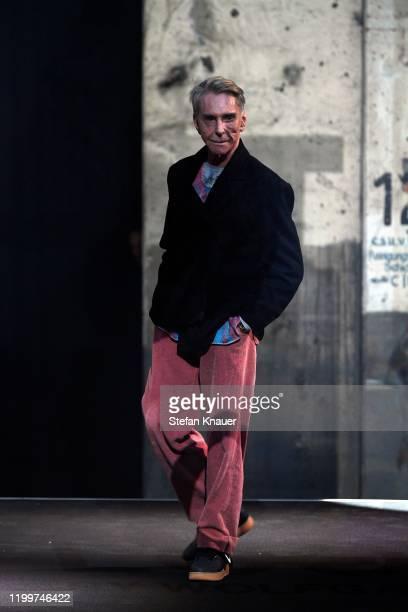 Designer Wolfgang Joop seen on stage at the LOOKS by Wolfgang Joop show during Berlin Fashion Week Autumn/Winter 2020 at Kraftwerk Mitte on January...