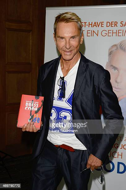Designer Wolfgang Joop speaks/poses during the presentation of his book 'Dresscode' at Soho House on April 15 2015 in Berlin Germany