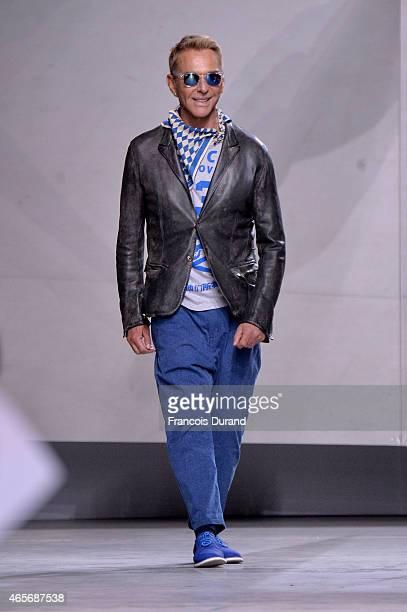 Designer Wolfgang Joop walks the runway during the Wunderkind show as part of the Paris Fashion Week Womenswear Fall/Winter 2015/2016 at Palais De...