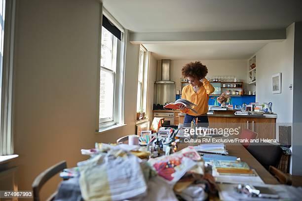 Designer working in kitchen