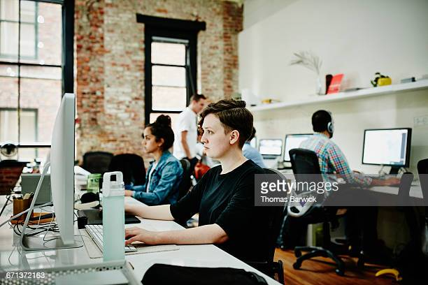 Designer working on project in startup office