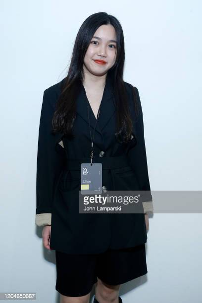 Designer Yalan Li poses at the Blancore fashion show during February 2020 New York Fashion Week The Shows at Gallery II at Spring Studios on February...