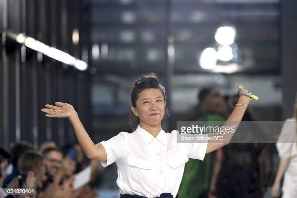 Designer Yasuko Furuta walks the runway at the TOGA show during London Fashion Week September 2018 at Queen Elizabeth || Centre on September 17 2018...