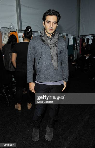 Designer Yigal Azrouel poses backstage at the Yigal Azrouel Fall 2011 fashion show during MercedesBenz Fashion Week at The Studio at Lincoln Center...