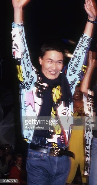 Designer Yohji Yamamoto at his fashion show in New York, 1981.