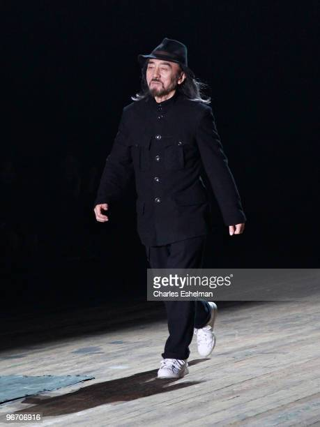 Designer Yohji Yamamoto attends the Y3 Fall 2010 fashion show during MercedesBenz Fashion Week at the Park Avenue Armory on February 14 2010 in New...