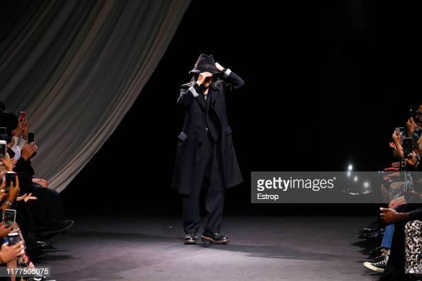 Designer Yohji Yamamoto during the Yohji Yamamoto Womenswear Spring/Summer 2020 show as part of Paris Fashion Week on September 27, 2019 in Paris,...