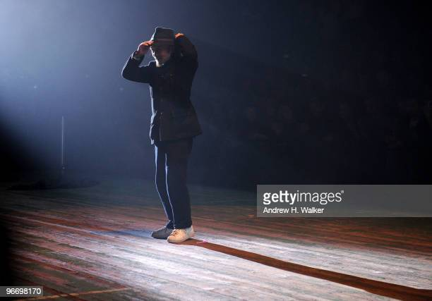 Designer Yohji Yamamoto walks the runway at the Y-3 Autumn/Winter 2010 Fashion Show during Mercedes-Benz Fashion Week at the Park Avenue Armory on...