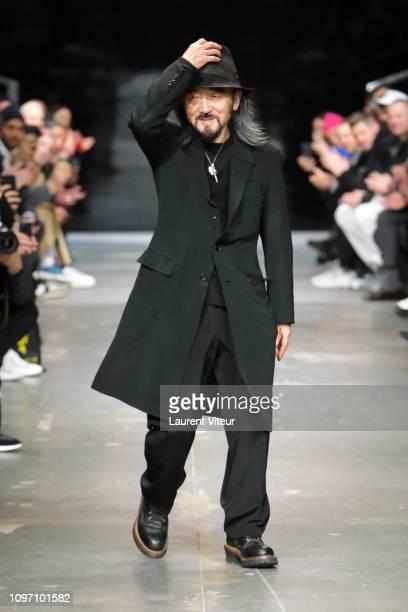Designer Yohji Yamamoto walks the runway during the Y-3 Menswear Fall/Winter 2019-2020 show as part of Paris Fashion Week on January 20, 2019 in...