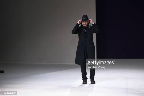 Designer Yohji Yamamoto walks the runway during the Yohji Yamamoto show as part of the Paris Fashion Week Womenswear Fall/Winter 2019/2020 on March...