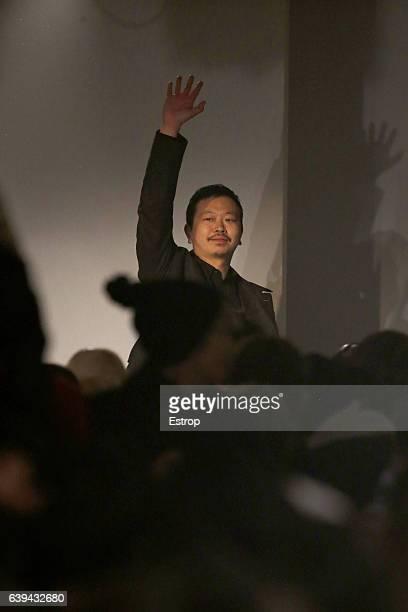 Designer Yosuke Aizawa walks the runway during the White Mountaineering designed by Yosuke Aizawa Menswear Fall/Winter 20172018 show as part of Paris...