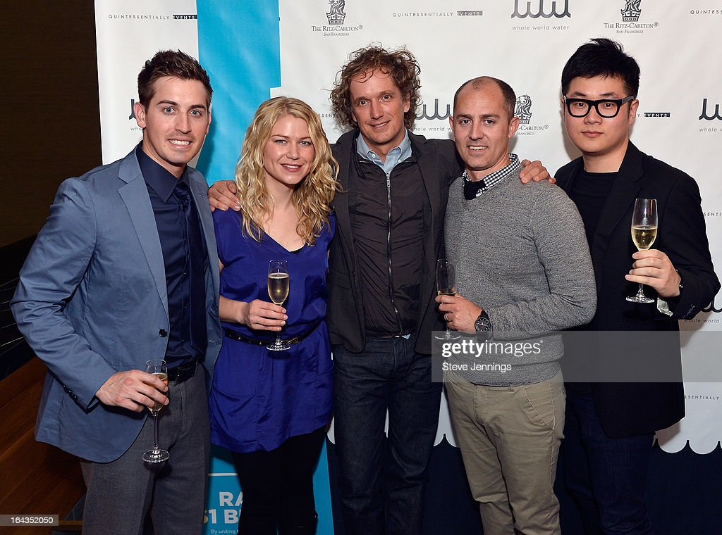 Designer Yves Behar (C) poses with members of the Fuseproject Team attend the WHOLE WORLD Water launch event at Parallel 37 at The Ritz-Carlton, San Francisco on March 22, 2013 in San Francisco, California.