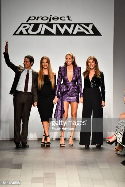Designer Zac Posen Actress Jessica Alba Model Heidi Klum and Journalist Nina Garcia walk the runway at the Project Runway fashion show during New...