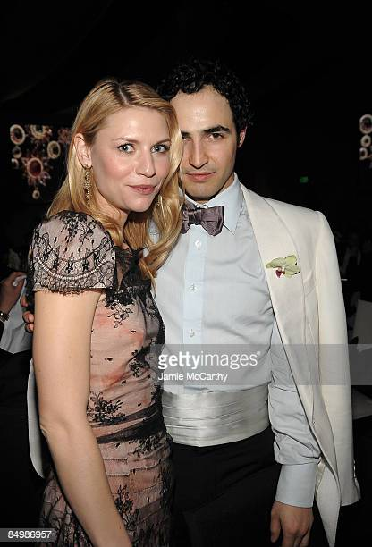 Designer Zac Posen and actress Claire Danes attend the 17th Annual Elton John AIDS Foundation Oscar party held at the Pacific Design Center on...