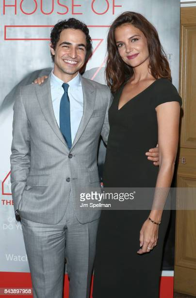 Designer Zac Posen and actress Katie Holmes attend the premiere of House of Z hosted by Brooks Brothers with The Cinema Society at Crosby Street...