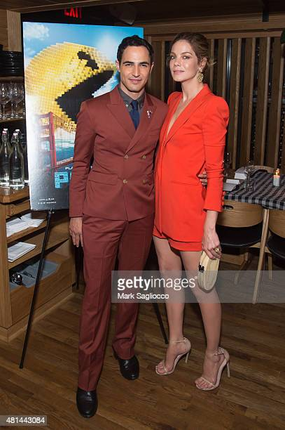 Designer Zac Posen and Actress Michelle Monaghan attends the Dinner Honoring the Women of 'Pixels' at Upland on July 20 2015 in New York City